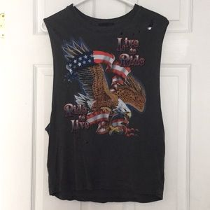 4th of July distressed tank top